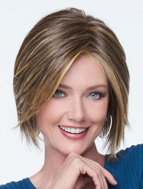 Woman wearing a chin length synthetic lace front wig with razor-cut ends